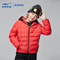 【3件3折到手价:119.7元】鸿星尔克(ERKE)儿童童装2018新款男童冬季保暖创意个性眼镜连帽休闲棉夹克外套
