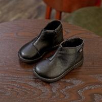 2018冬新款韩版女童靴子短靴棉靴皮靴男童鞋宝宝鞋皮鞋儿童马丁靴