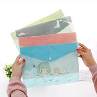 【8个装】卡通文件袋 卡通韩版PVC动物文件袋2019新款创意横款简约文件袋 学生试卷档案袋