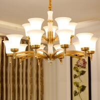 照明客厅灯吊灯铜全铜新中式纯铜 美式吊灯客厅灯全铜灯餐厅卧室15头