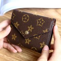 女士小钱包女短款折叠零钱包竖款三折搭扣多卡位钱夹复 老花纹咖啡色