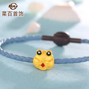 菜百首饰黄金转运珠海洋系列可爱螃蟹八方来财足金串珠 送皮绳