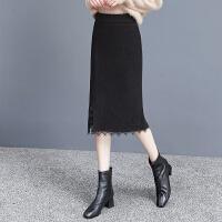 毛呢半身裙女秋冬季加绒2010年新款蕾丝花边高腰显瘦包臀遮胯裙子