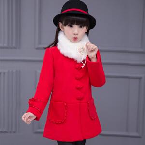 【满200-100】百槿 秋冬女童小熊毛领加厚呢子保暖大衣