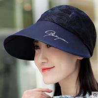 遮阳帽子女士韩版潮百搭紫外线太阳帽网红同款时尚户外运动新品遮脸加大沿沙滩防晒帽女