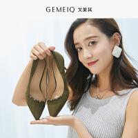 戈美其春季新款时尚单鞋浅口尖头性感高跟鞋水钻细跟磨砂皮女单鞋