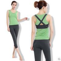 户外春夏季显瘦修身健身服套装 新款瑜伽服套装紧身跑步运动背心女