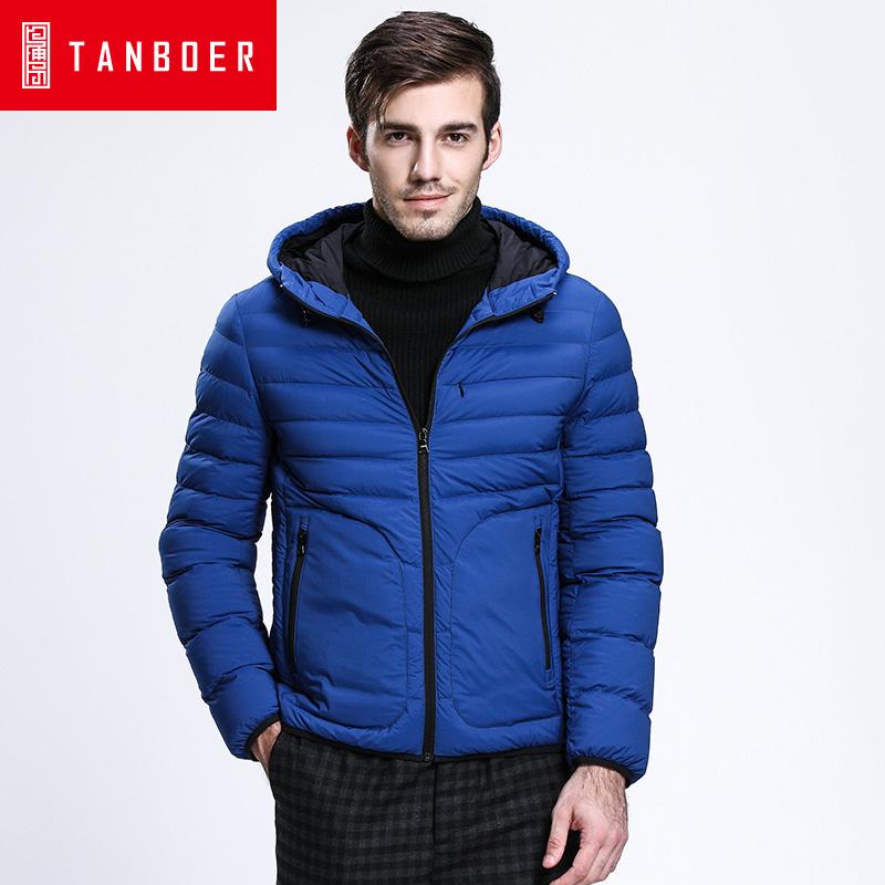坦博尔韩版时尚轻薄短款连帽羽绒服男士大口袋夹克冬季外套TA3255会员节!每满100减50