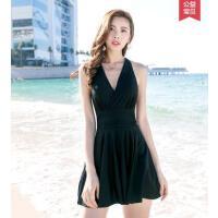女士泳衣户外度假保守显瘦遮肚性感韩国连体裙式新款小胸聚拢大码泳装
