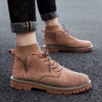 金牛骑士马丁靴男学生韩版军靴中高帮潮鞋子雪地靴冬季加厚短皮靴加绒棉鞋