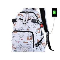 双肩包女韩版印花时尚潮流背包女大高初中生小学生书包女旅行包包