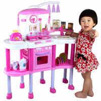 儿童过家家玩具女孩过家家厨房玩具粉色套装宝宝做饭玩具语音灯光
