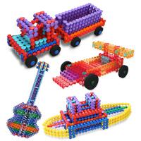 光华竹节棍211PCS儿童益智拼插拼搭磁力柔性积木玩具Playstix