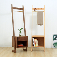 北欧实木云梯床头柜挂衣架 小型床边柜置物架储物柜 沙发边几边柜 组装
