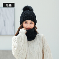 帽子女冬天时尚韩版骑车百搭针织保暖手套围脖加绒加厚护耳毛线帽
