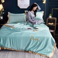 床单单件冰丝四件套欧式丝滑裸睡真丝三件套被罩丝绸婚庆结婚新婚