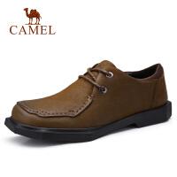camel骆驼男鞋秋季新款青年复古男士休闲皮鞋防滑工作鞋系带牛皮鞋