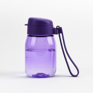 特百惠新品 嘟嘟企鹅杯350ML随手杯便携防漏迷你学生儿童塑料水杯魅影紫