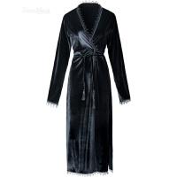 性感丝绒睡衣女士长款睡袍长袖浴袍冬天日式和服浴衣 黑色