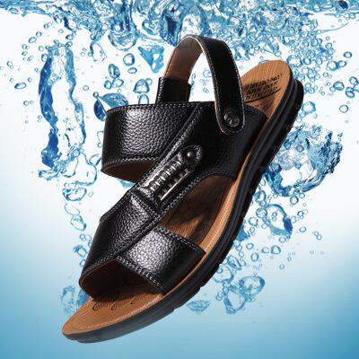 金牛骑士夏季凉鞋男真皮男士凉鞋牛皮沙滩鞋休闲透气防滑凉拖男鞋
