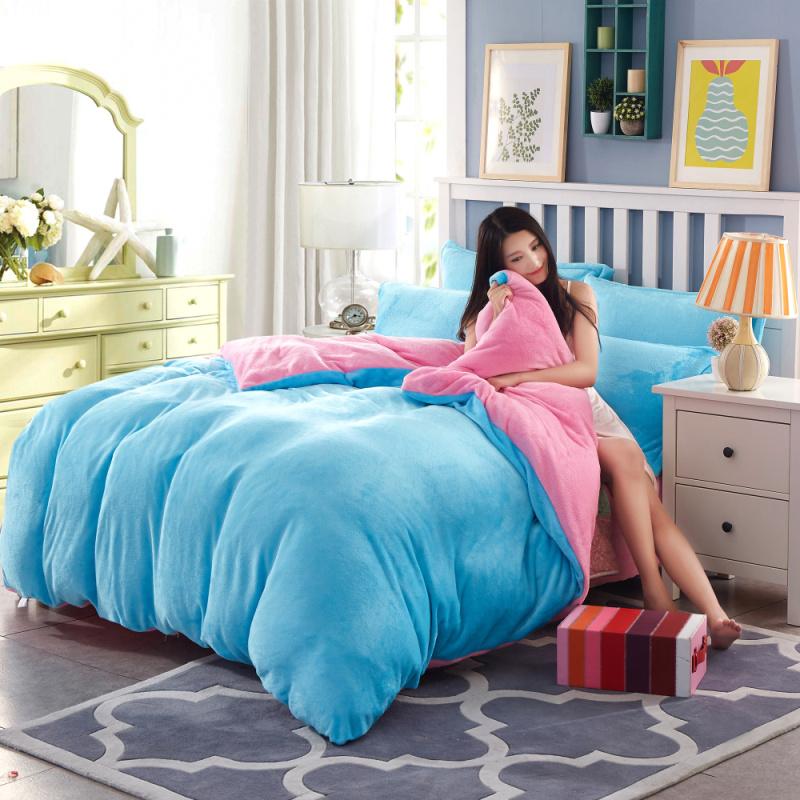 床上四件套冬季珊瑚绒毛绒被单被套加厚加绒双面法拉绒法兰绒冬天 LZC湖蓝 粉红