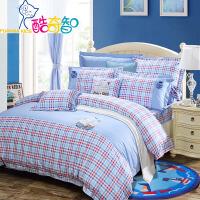 富安娜家纺  儿童四件套纯棉素秀斜纹40s床上用品 小小航海家 蓝色 1.8米床(6英尺)