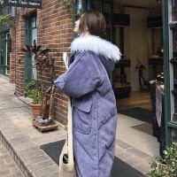 灯芯绒女中长款冬装2018新款学生ins面包服加厚棉衣棉袄外套