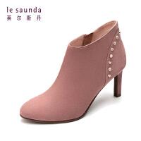 莱尔斯丹 秋冬专柜款时尚优雅细高跟踝靴女靴短靴 8T80131