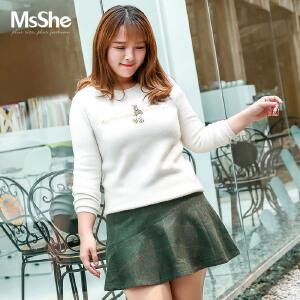 MsShe加大码女装2017新款冬装韩版甜美刺绣圆领套头毛衣M1740124