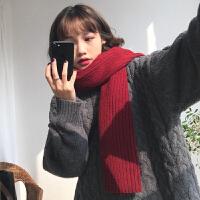气质酒红色学生毛线围巾女冬季韩版百搭加厚保暖针织围脖潮 气质酒红