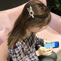 发夹 女士兔子珍珠水钻发夹2020年新款韩版时尚女式甜美可爱简约发饰刘海边夹饰品