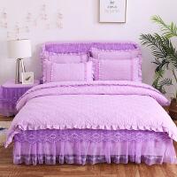 君别秋冬夹棉加厚公主蕾丝床裙床罩床套式大红色结婚庆床品四件套 紫色 甜馨款