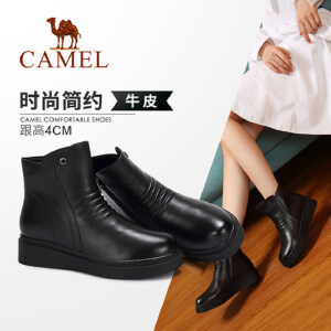 Camel/骆驼2018冬季新款 时尚简约舒适大气平跟拉链短筒女靴
