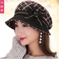 秋冬女帽子百搭鸭舌帽英伦风优雅格子贝雷帽韩版休闲复古帽