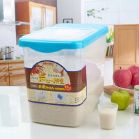 厨房用品10KG米桶保鲜大米透明储米器 储米箱带滑轮防虫防潮米缸装米桶密封储米箱面桶 蓝色
