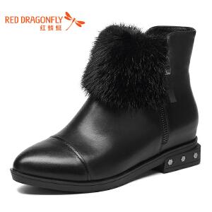 红蜻蜓女靴冬季新品平跟厚底兔毛短靴女优雅舒适加绒保暖女鞋