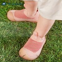 迷你巴拉巴拉儿童学步鞋2021夏款男女宝宝透气软底防滑不掉鞋子