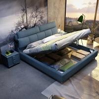 布艺床简约现代主卧双人床 北欧小户型可拆洗软包布艺床1.8米储物 +乳胶床垫