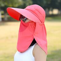 休闲户外遮阳帽子女夏天大沿可折叠骑车防晒帽防紫外线出游遮脸太阳帽