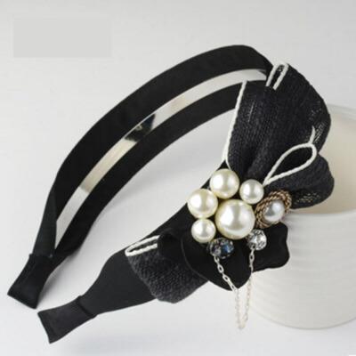 成人仿珍珠头箍发夹头饰品女头窟发卡发箍宽边蝴蝶结