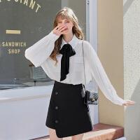 MG小象秋季套装女2019新款很仙的长袖白衬衫洋气半身裙减龄两件套