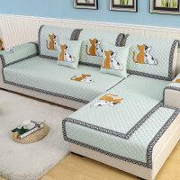 防滑沙发垫布艺田园四季通用实木坐垫冬季简约现代皮沙发巾套