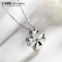 T400银项链女四叶草锁骨链吊坠简约日韩国学生装饰颈链个性配饰品  12286