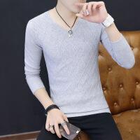 春秋季圆领毛衣男青少年韩版修身条纹毛线衣服潮流男士薄款针织衫