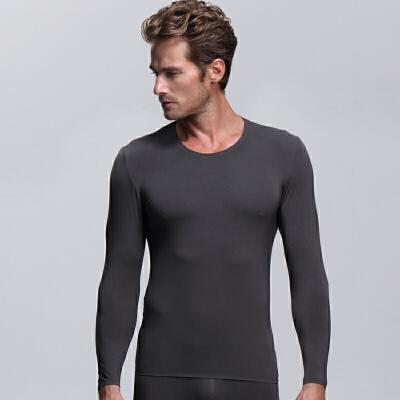无痕男士秋衣上衣单件薄款保暖内衣男士内衣棉毛衫长袖打底衫