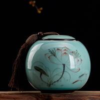 景德镇手绘陶瓷器茶叶罐红茶绿茶铁观音密封罐荷叶罐家用小号