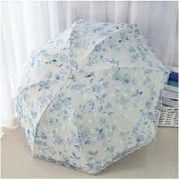 小清新太阳伞强防晒蕾丝遮阳女双层折叠晴雨伞两用 宝蓝色 B款【加厚黑胶】 满穿加纱
