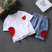 男童套装男宝宝韩版爱心两件套中小童纯棉白T恤短袖+牛仔中裤