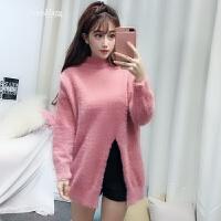 仿貂绒粉色宽松半高领毛衣女款套头2018新款春季韩版甜美学生百搭