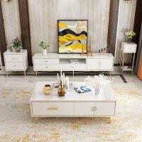 轻奢北欧现代简约小户型客厅家用玻璃茶几电视柜套装组合美式家具 整装